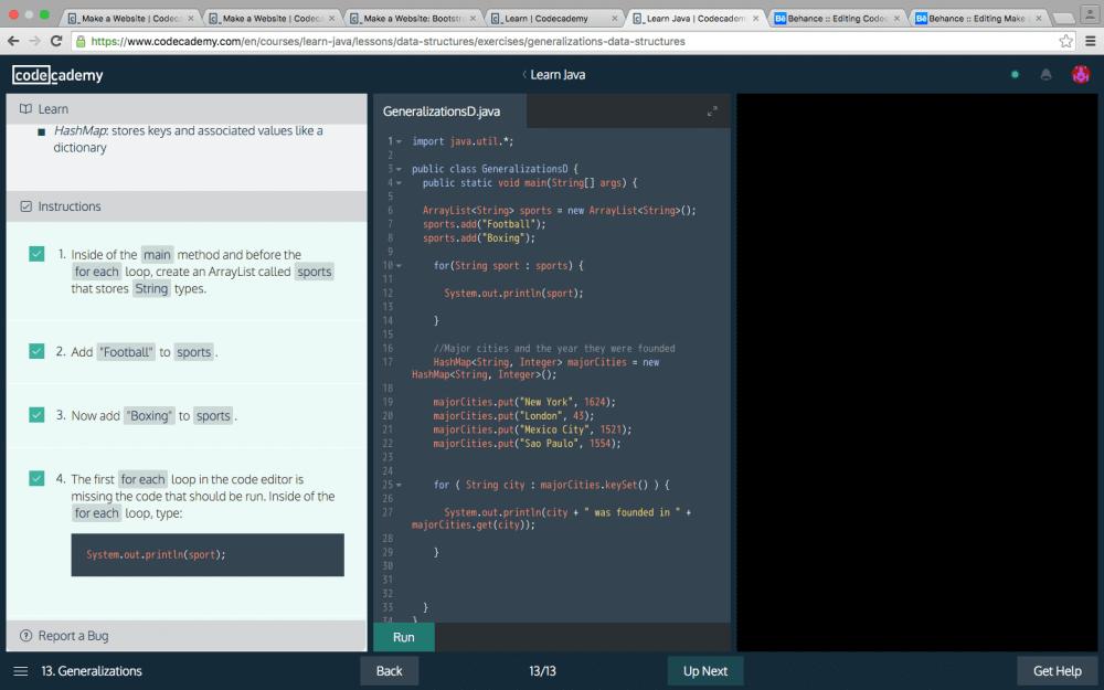 CodeCademy interface